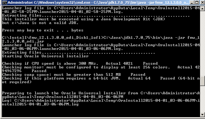 Launching ODI installer