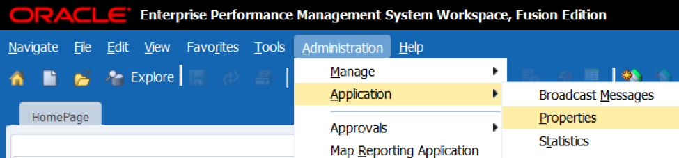 Administration > Application > Properties