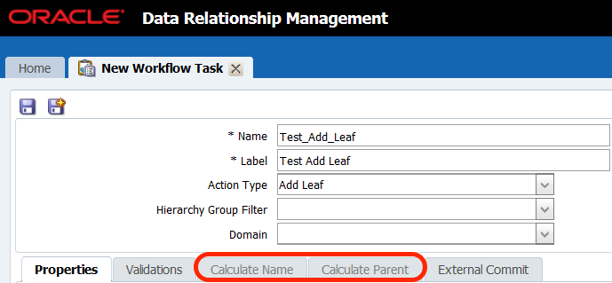 Workflow Task Calculate Name Calculate Parent greyed out